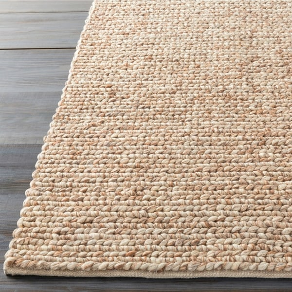Hand-woven Guaymas Beige Solid Causal Wool Area Rug - 2' x 3'