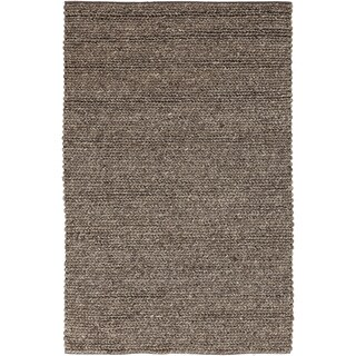 Hand-woven Iguala Solid Casual Brown Wool Rug (8' x 11')