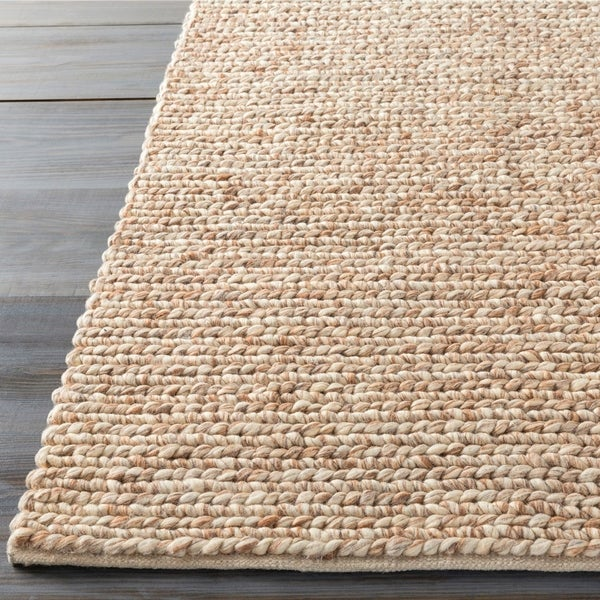Hand-woven Guaymas Beige Solid Causal Wool Area Rug - 5' x 8'