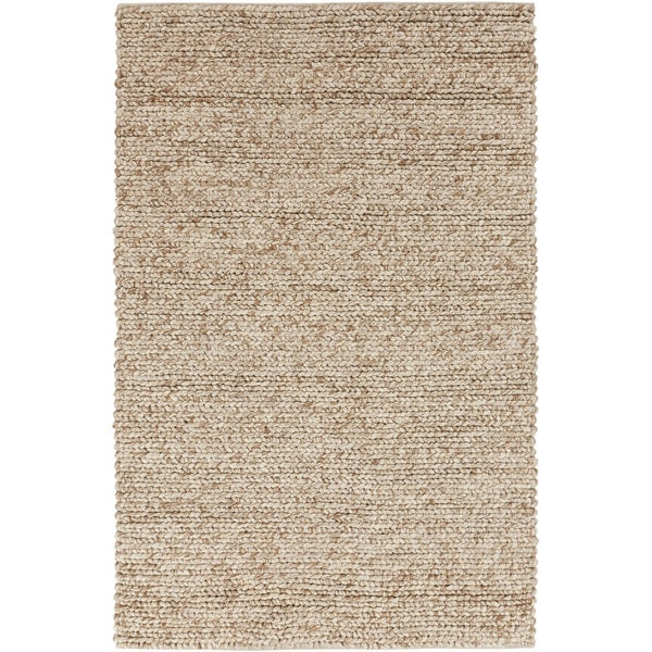 Hand-woven Guaymas Beige Solid Causal Wool Area Rug (5' x 8')