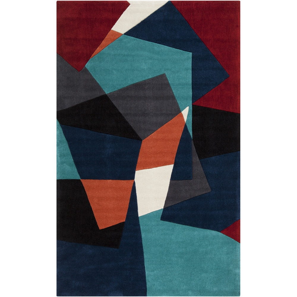 Hand-tufted Antoing Navy Geometric Rug (3'6 x 5'6) (3 ft....