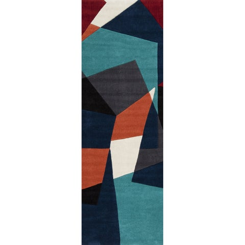 "Carson Carrington Stroby Hand-tufted Navy Geometric Runner Rug - 2'6"" x 8' Runner"