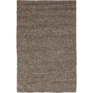 Hand-woven Iguala Solid Casual Brown Wool Rug (5' x 8')