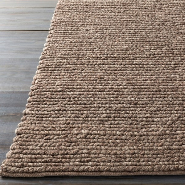 Hand-woven Iguala Solid Casual Brown Wool Area Rug - 5' x 8'