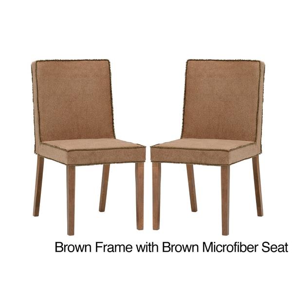 Stripp Brown Microfiber Modern Dining Chairs (Set of 2)