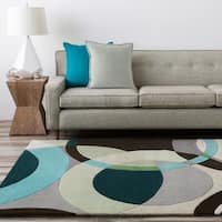 Hand-tufted Balen Hunter Green Geometric Circles Wool Area Rug - 12' x 15'