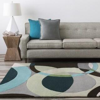 Hand-tufted Balen Hunter Green Geometric Circles Wool Rug (5' x 8')