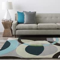 Hand-tufted Balen Hunter Green Geometric Circles Wool Area Rug - 5' x 8'