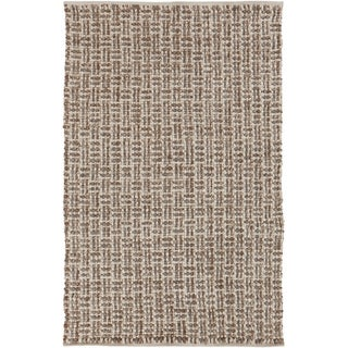 Hand-woven Solid Casual Beige Tampico Wool Rug (8' x 11')