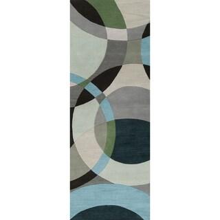 Hand-tufted Balen Hunter Green Geometric Circles Wool Rug (2'6 x 8')
