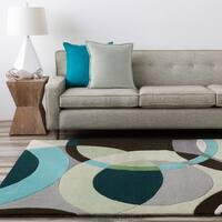 Hand-tufted Balen Hunter Green Geometric Circles Wool Area Rug - 2'6 x 8'