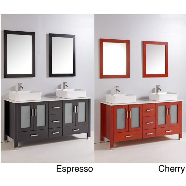 59 Inch Double Ceramic Sink Bathroom Vanity Set Free Shipping Today 15046342