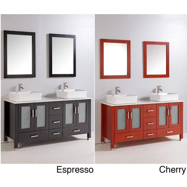 59-inch Double Ceramic Sink Bathroom Vanity Set