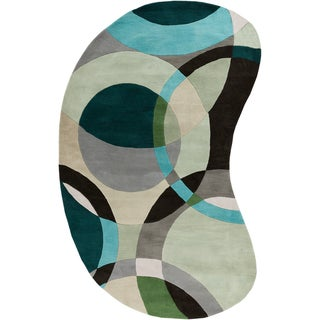 Hand-tufted Balen Hunter Green Geometric Circles Wool Rug (6' x 9')