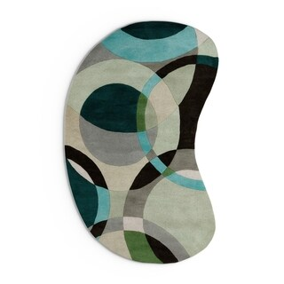 Hand-tufted Balen Hunter Green Geometric Circles Wool Area Rug - 6' x 9'