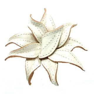 Handmade Mystique White Lily 2 in 1 Floral Leather Pin or Hairclip (Thailand)