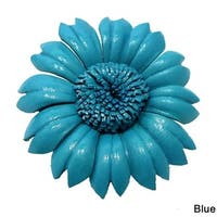 Handmade Sunflower Genuine Leather 2 in 1 Floral Pin or Hairclip (Thailand)