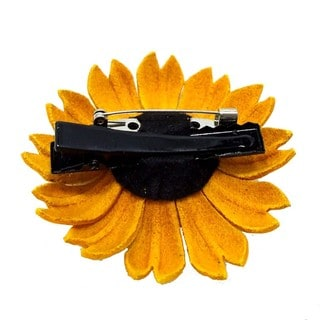 Sunflower Genuine Leather 2 in 1 Floral Pin or Hairclip (Thailand)