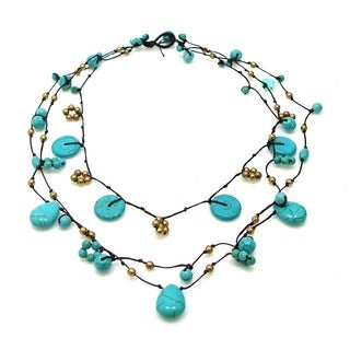 Handmade Flowing Cascades Turquoise Stone Necklace (Thailand)