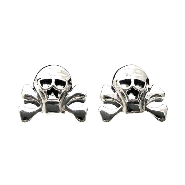 Handmade Pirate Skull Danger Sterling Silver Stud Earrings (Thailand)
