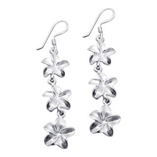 Triple Hawaiian Plumeria Silver Drop Earrings (Thailand)