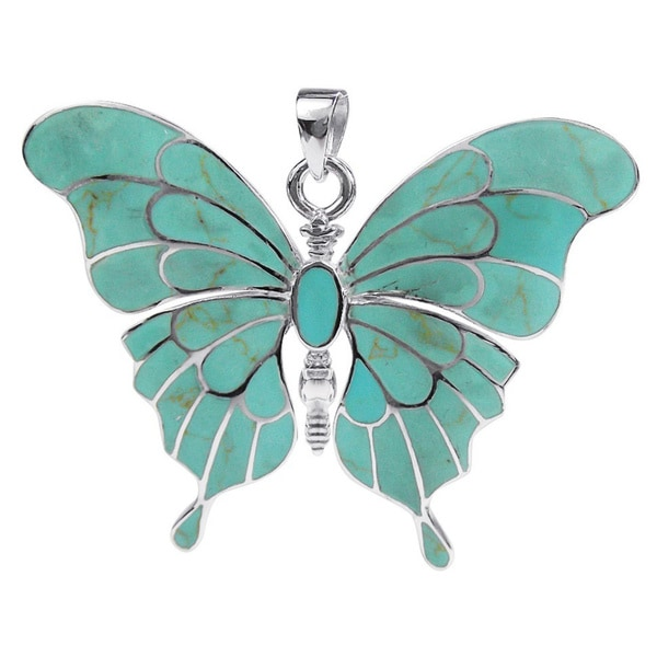 Handmade Gorgeous Big Butterfly Abalone Shell .925 Silver Pendant (Thailand)