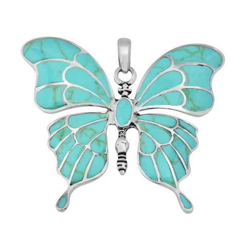 Handmade Gorgeous Big Butterfly Sterling Silver Pendant (Thailand)