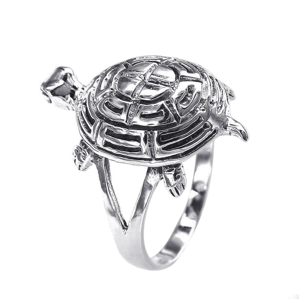 Cute Turtle Sea Life Silver Ring (Thailand)
