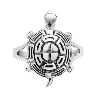 Handmade Cute Turtle Sea Life Silver Ring (Thailand)