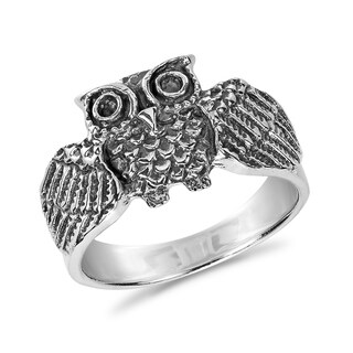 Handmade Awake Owl Spread Wings Sterling Silver Ring (Thailand)