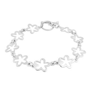 Handmade Trendy Retro Flower Link Silver Toggle Bracelet (Thailand)