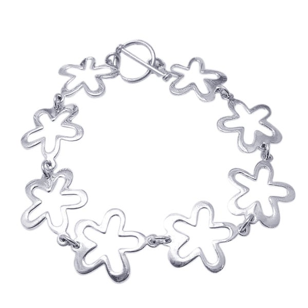 Trendy Retro Flower Link Silver Toggle Bracelet (Thailand)