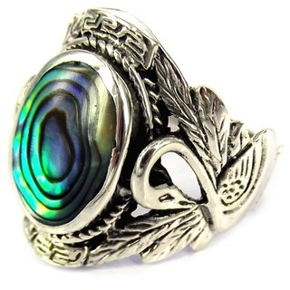 Handmade Beautiful Couple Swan Oval Abalone .925 Sterling Silver Ring (Thailand)