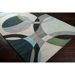 Hand-tufted Balen Hunter Green Geometric Circles Wool Rug (8'x11')