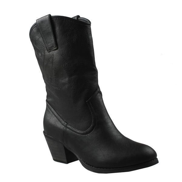 Refresh Women's 'West' Western Style Black Mid-Calf Boots