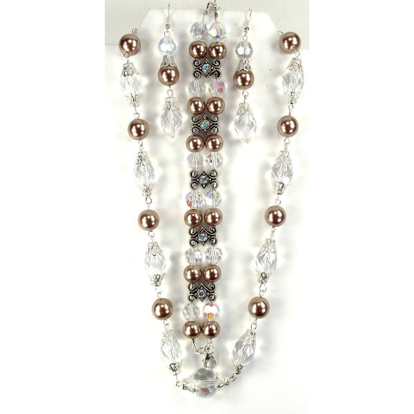 Silverplated Champagne Faux Pearl and Clear Crystal Jewelry Set