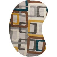 Hand-tufted Ivory Geometric Squares Wool Area Rug (6' x 9') - 6' x 9'