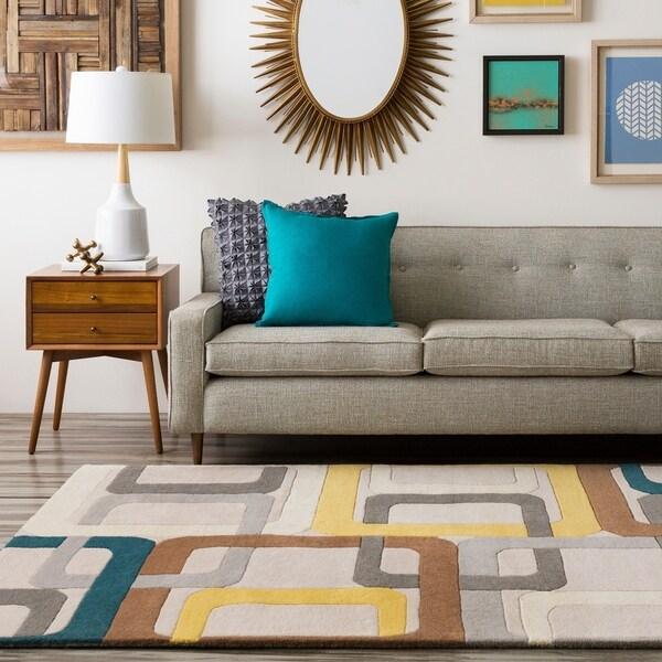 "Hand-tufted Bassenge Light Grey Geometric Squares Wool Area Rug - 7'6"" x 9'6"""