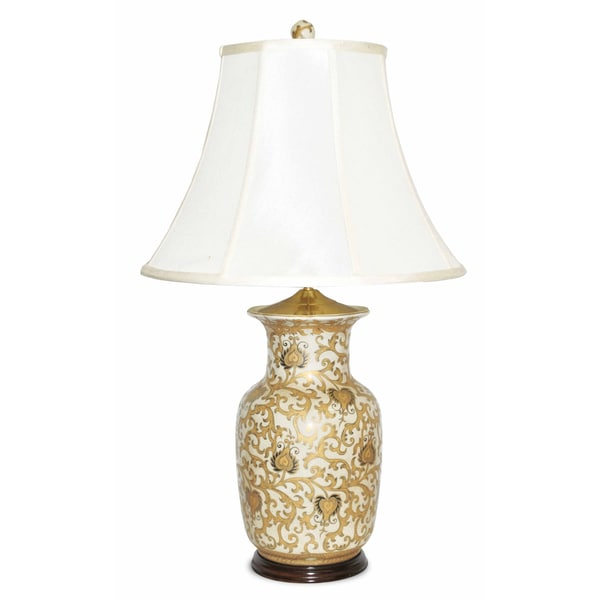 cream round porcelain jar table lamp free shipping today overstock. Black Bedroom Furniture Sets. Home Design Ideas