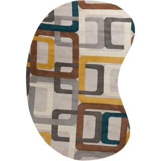 Hand-tufted Bassenge Light Grey Geometric Squares Wool Rug (8' x 10' Kidney)