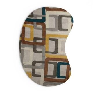 Hand-tufted Bassenge Light Grey Geometric Squares Wool Area Rug - 8' x 10'