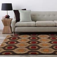 Hand-tufted Bastogne Espresso Moroccan Tile Wool Area Rug - 4' x 6'