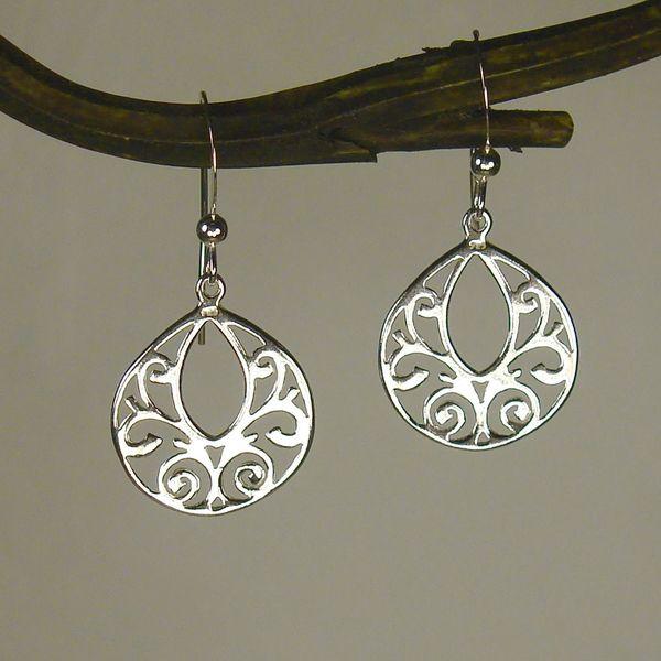 Handmade Jewelry by Dawn Sterling Silver Fancy Filigree Teardrop Earrings