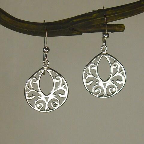 Handmade Jewelry by Dawn Sterling Silver Fancy Filigree Teardrop Earrings (USA)