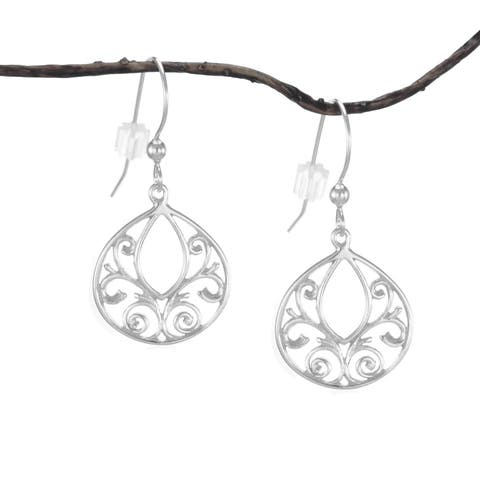 Handmade Jewelry by Dawn Sterling Silver Fancy Filigree Teardrop Earrings (United States)