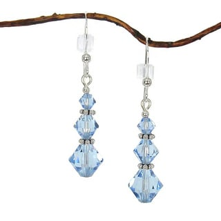 Jewelry by Dawn Sterling Silver Blue Crystal Triple Bicone Earrings