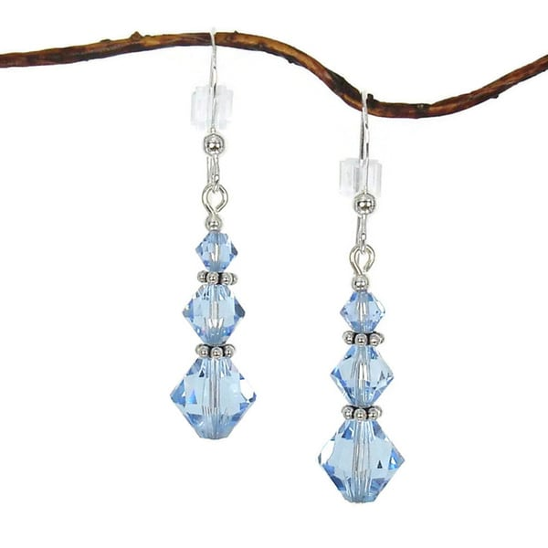 Handmade Jewelry by Dawn Sterling Silver Blue Crystal Triple Bicone Earrings