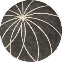 Hand-tufted Beaumont Iron Ore Floral Wool Area Rug - 4' Round