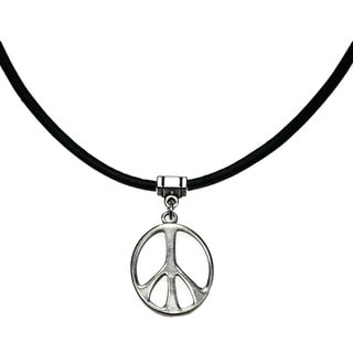 Jewelry by Dawn Silvertone Peace Sign Greek Leather Necklace