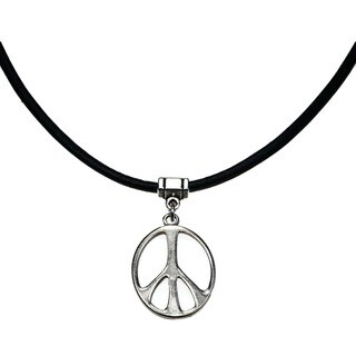 Handmade Jewelry by Dawn Silvertone Peace Sign Greek Leather Necklace - Black/silver